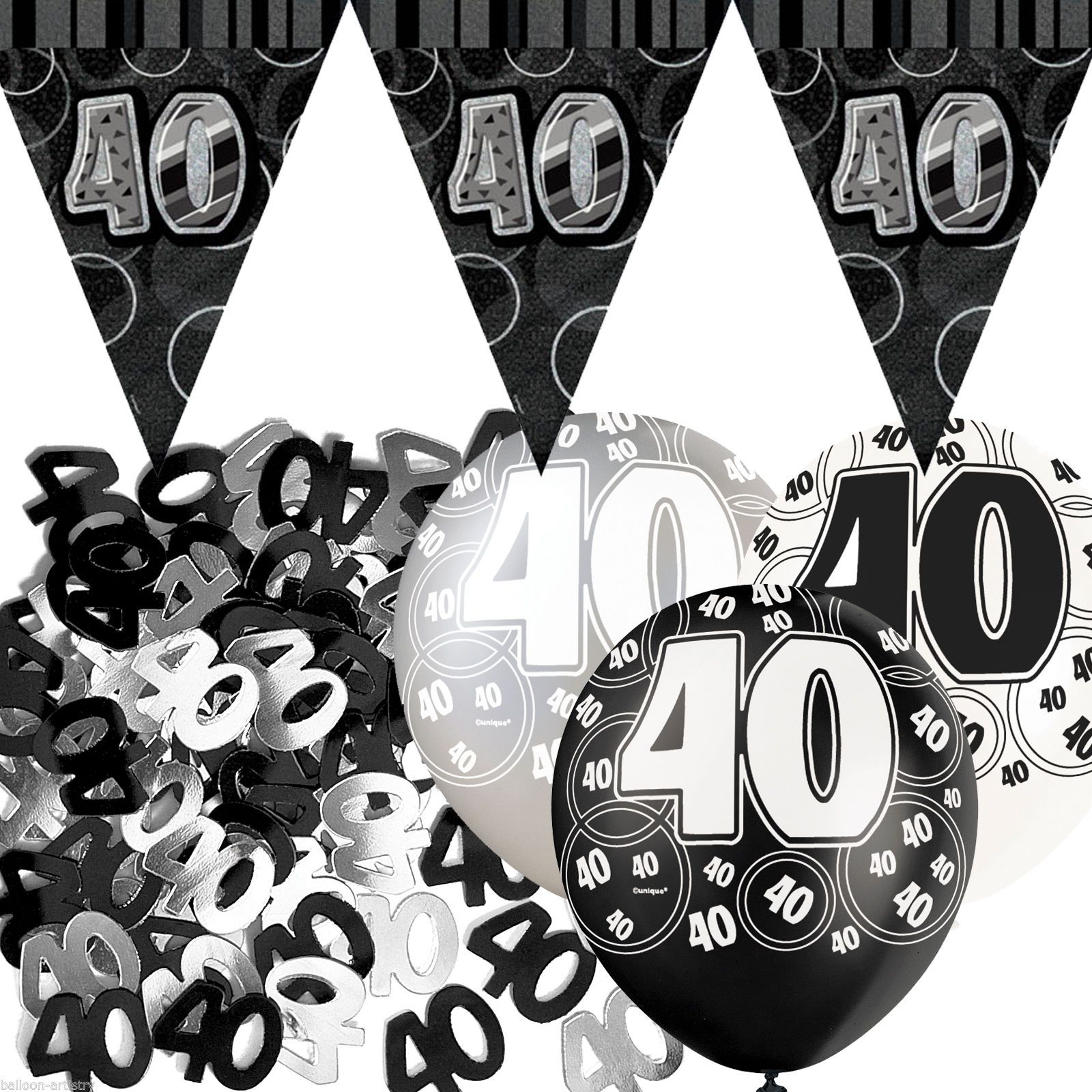 Black Silver Glitz 40th Birthday Flag Banner Party Decoration Pack ...