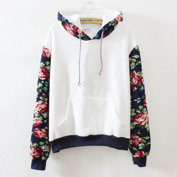 Harajuku retro solid color flowers sleeve hoodie from Harajuku ... 77bd9313dc0
