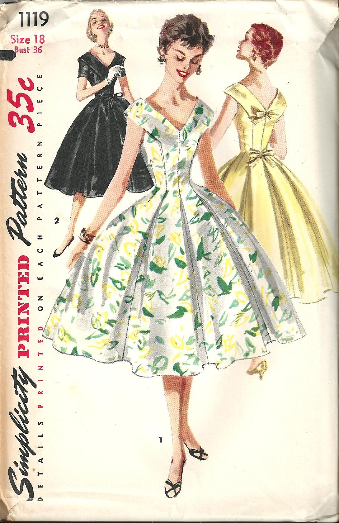 Vintage Sewing Pattern Dress Simplicity 1119 | Beautiful Dresses I ...