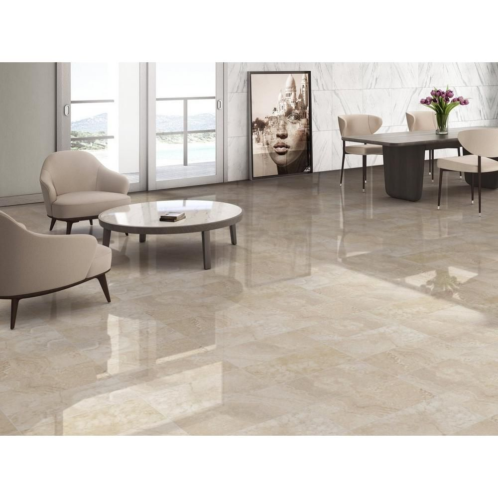Elegance Cream Polished Porcelain Tile Polished Porcelain Tiles Porcelain Tile Flooring