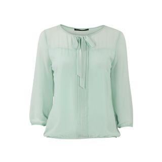 Chiffon blouse met strik Mintgroen | Kledingstijl ...