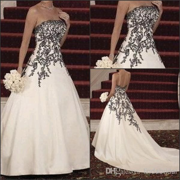 Wedding Dress A-line White Satin Black Lace Applique Beads Strapless ...