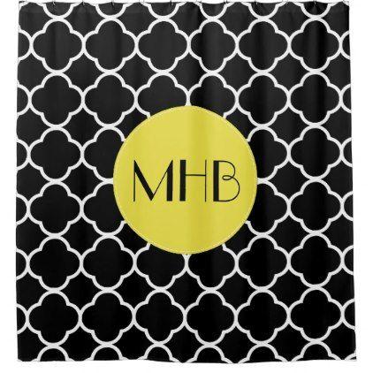 Monogram   Quatrefoil Tiles   Black White Yellow Shower Curtain | Yellow  Shower Curtains