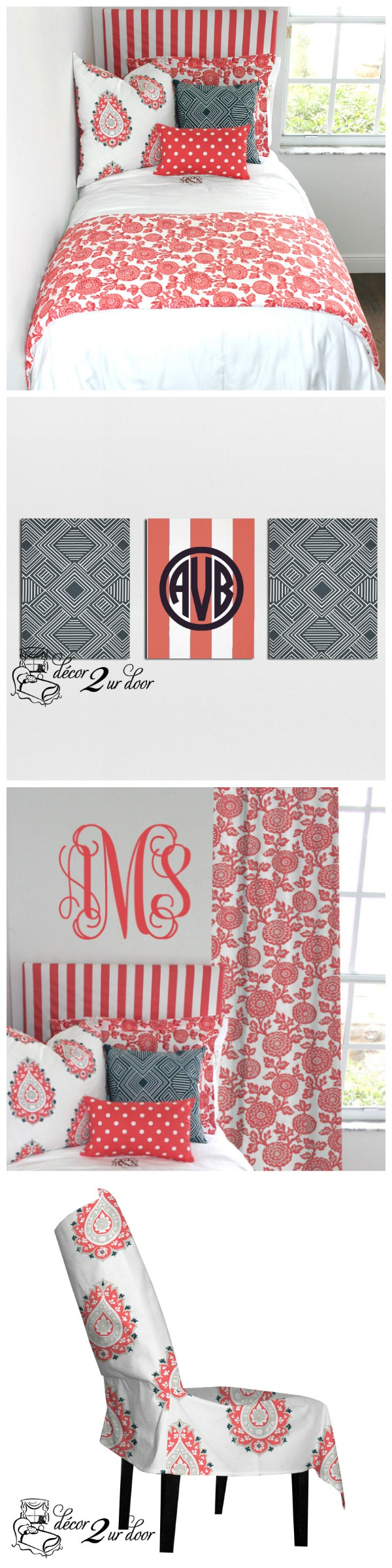 Coral mums bedding and decor designer headboard custom pillows