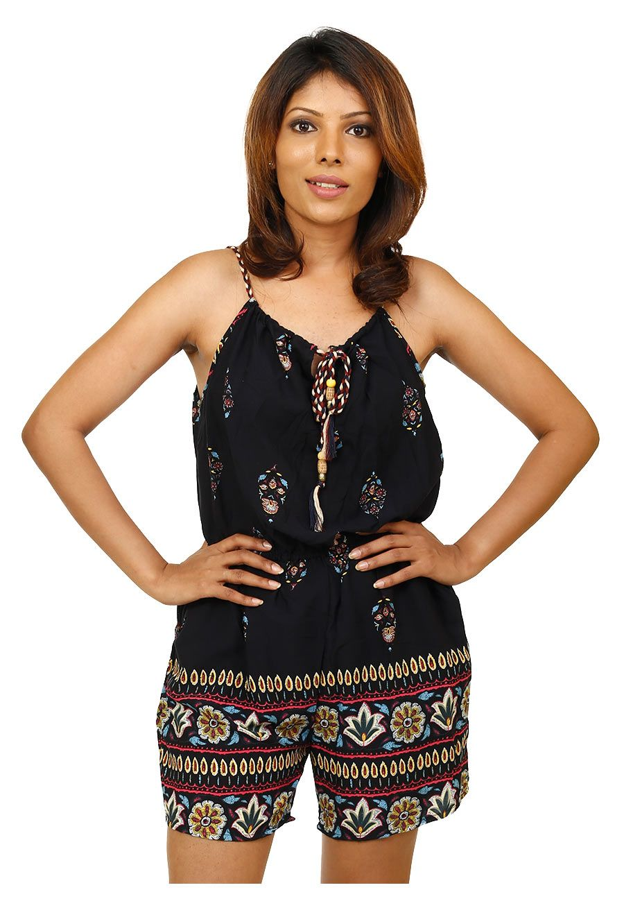 0cf23dc97b38 Tribal Floral Print Romper. Shop resort chic outfits