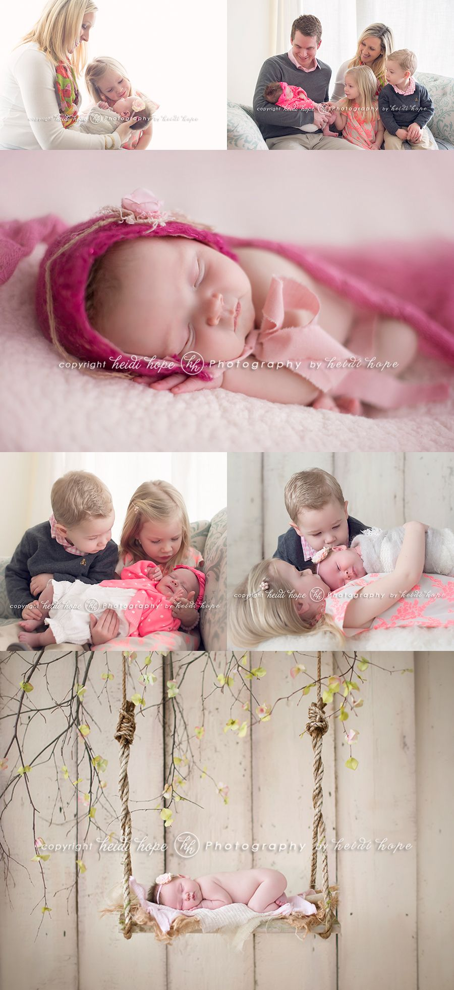 newborn baby girl with family and older siblings by Heidi Hope Photography