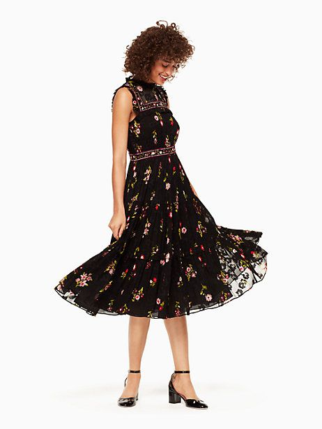 8b84b1e424af Kate Spade In Bloom Chiffon Midi Dress, Black - Size 14 | Style ...