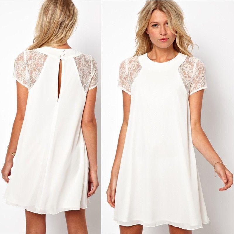 White lace mini dress plus size