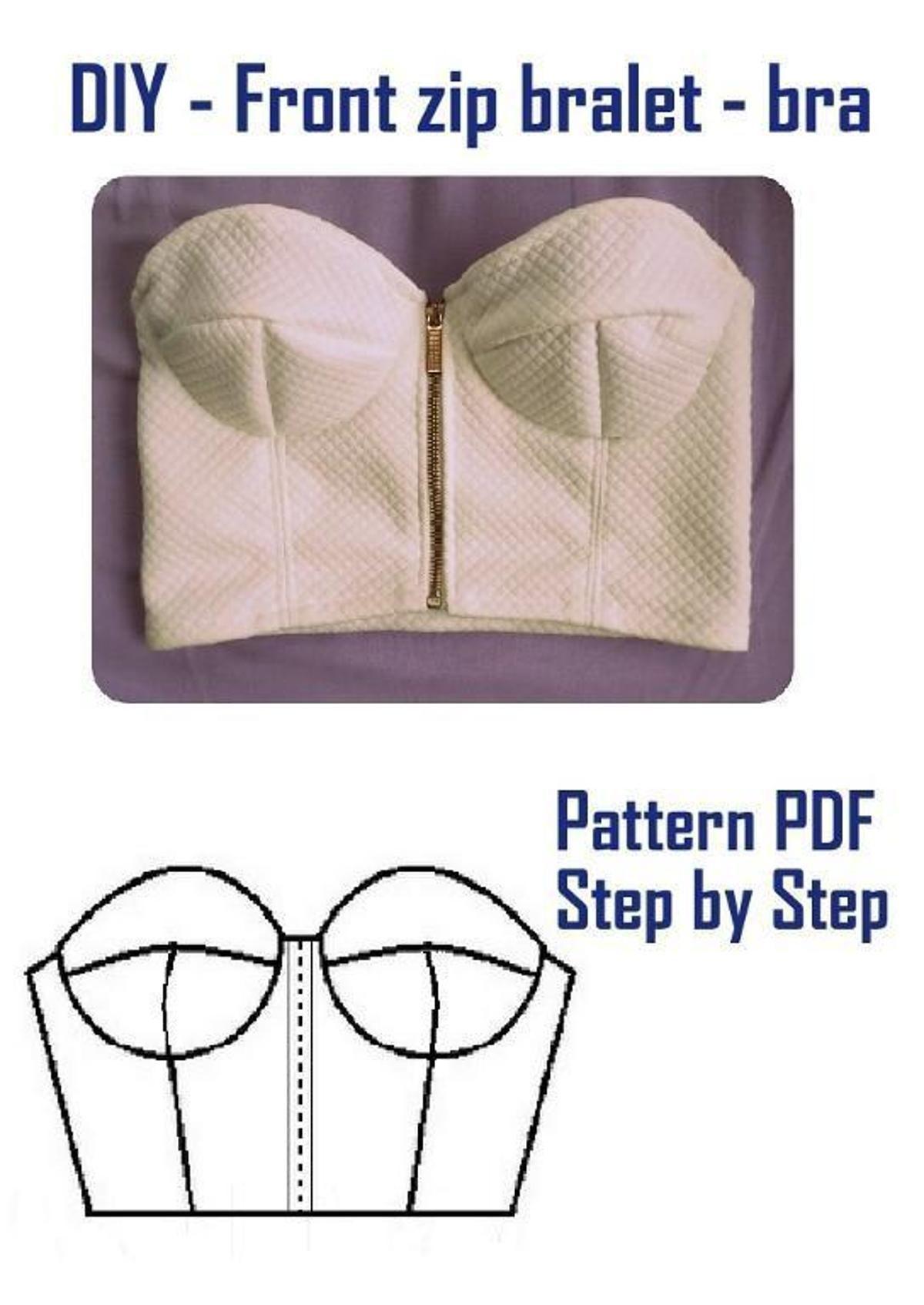 Front Zip Bralet - Bra by Libellulaa | Costura, Proyectos de costura ...