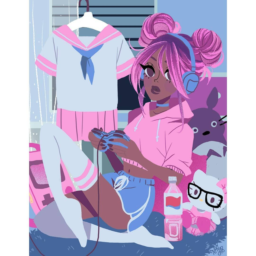 Gamer Girl Gamergirl Gamer Animeaesthetic Hellokitty Totoro Consolegaming Schoolgirluniform Kawaii Girls Cartoon Art Kawaii Black Girl Gamer Girl