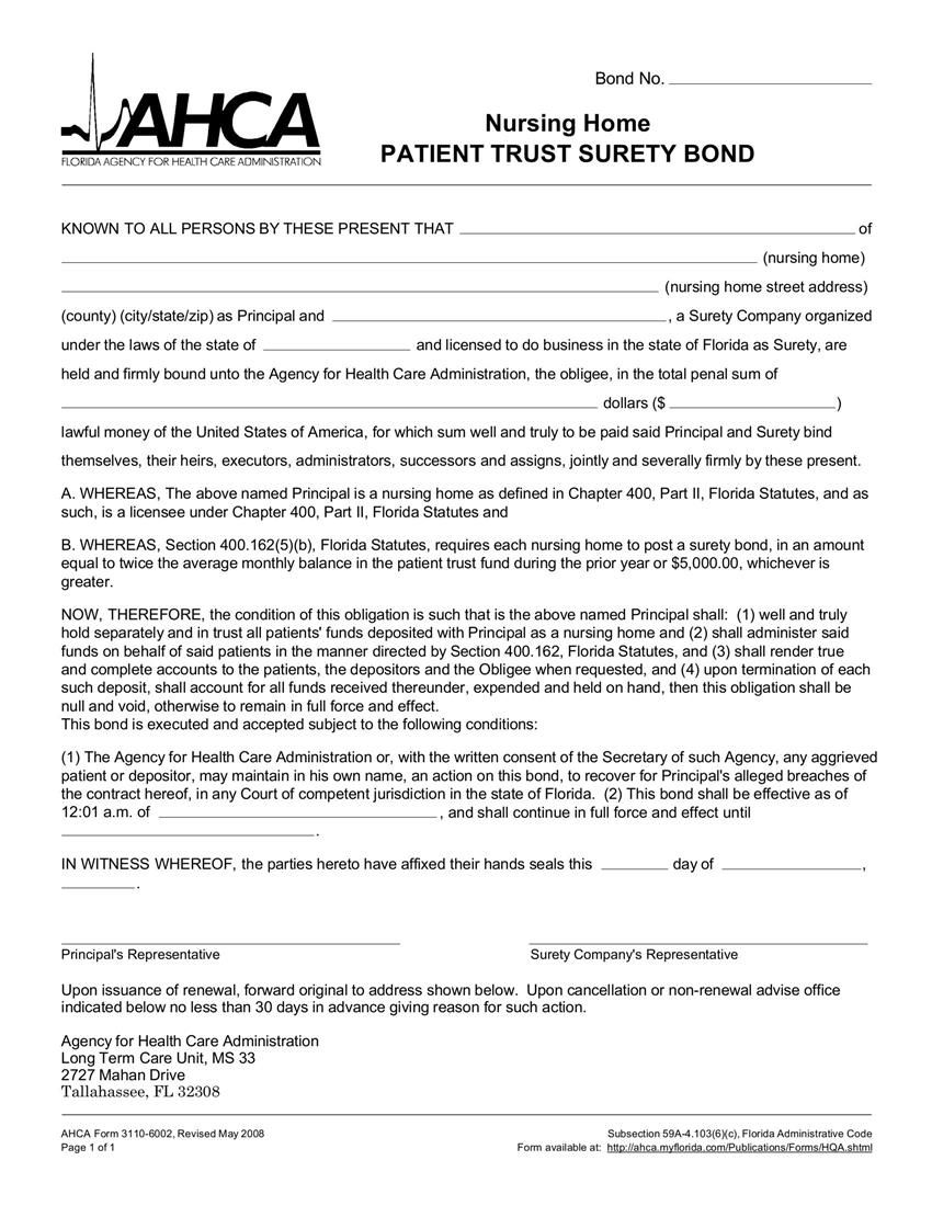 Florida nursing home patient trust surety bond bond