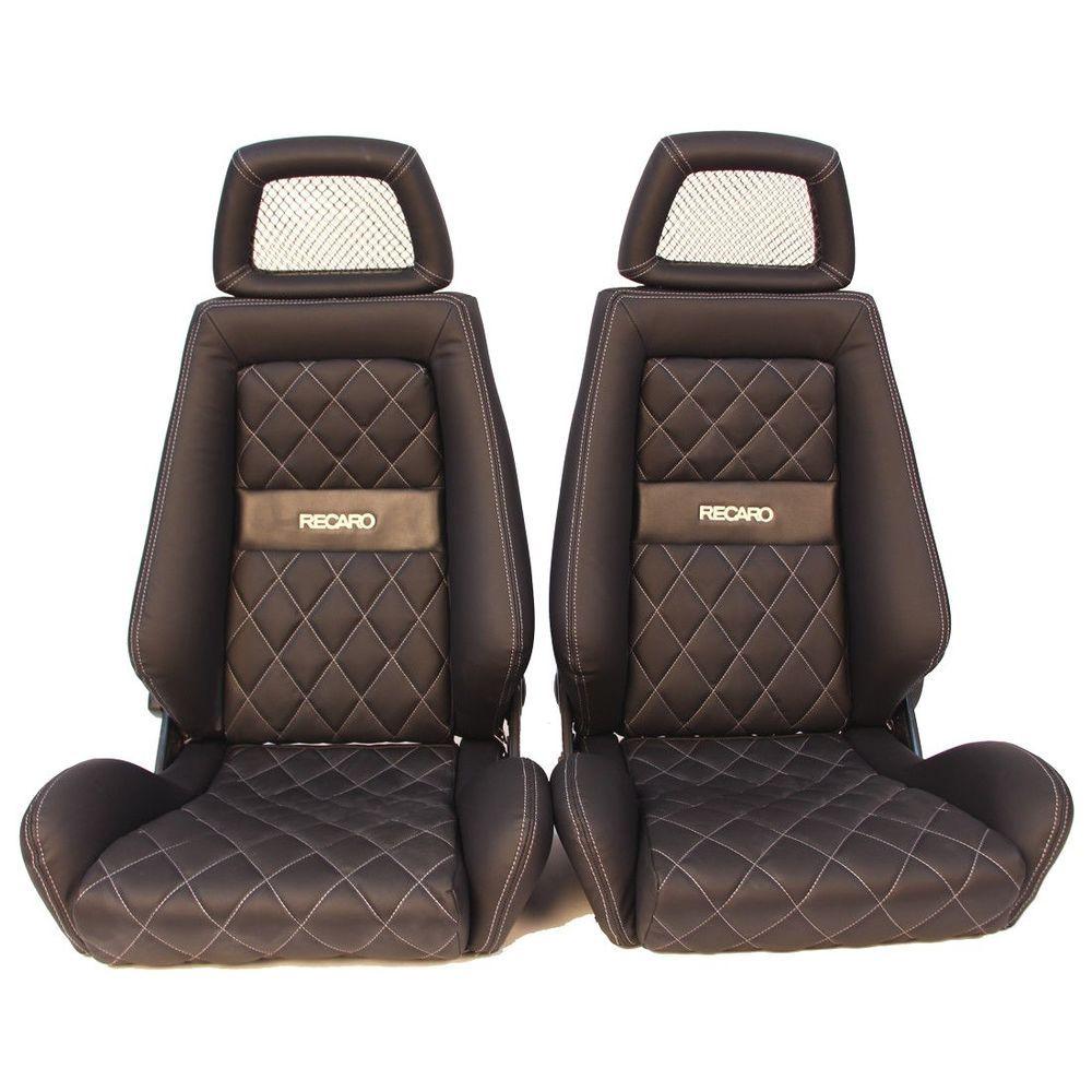 2 jdm recaro lx classic leather reclinable net headrest