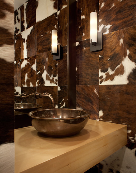 Cowhide Wall Tiles Combined With A Simple Wood Vanity Top And Solid Bonze Ann Sacks Sink To Create Modern Rustic Powder Room Love This Idea