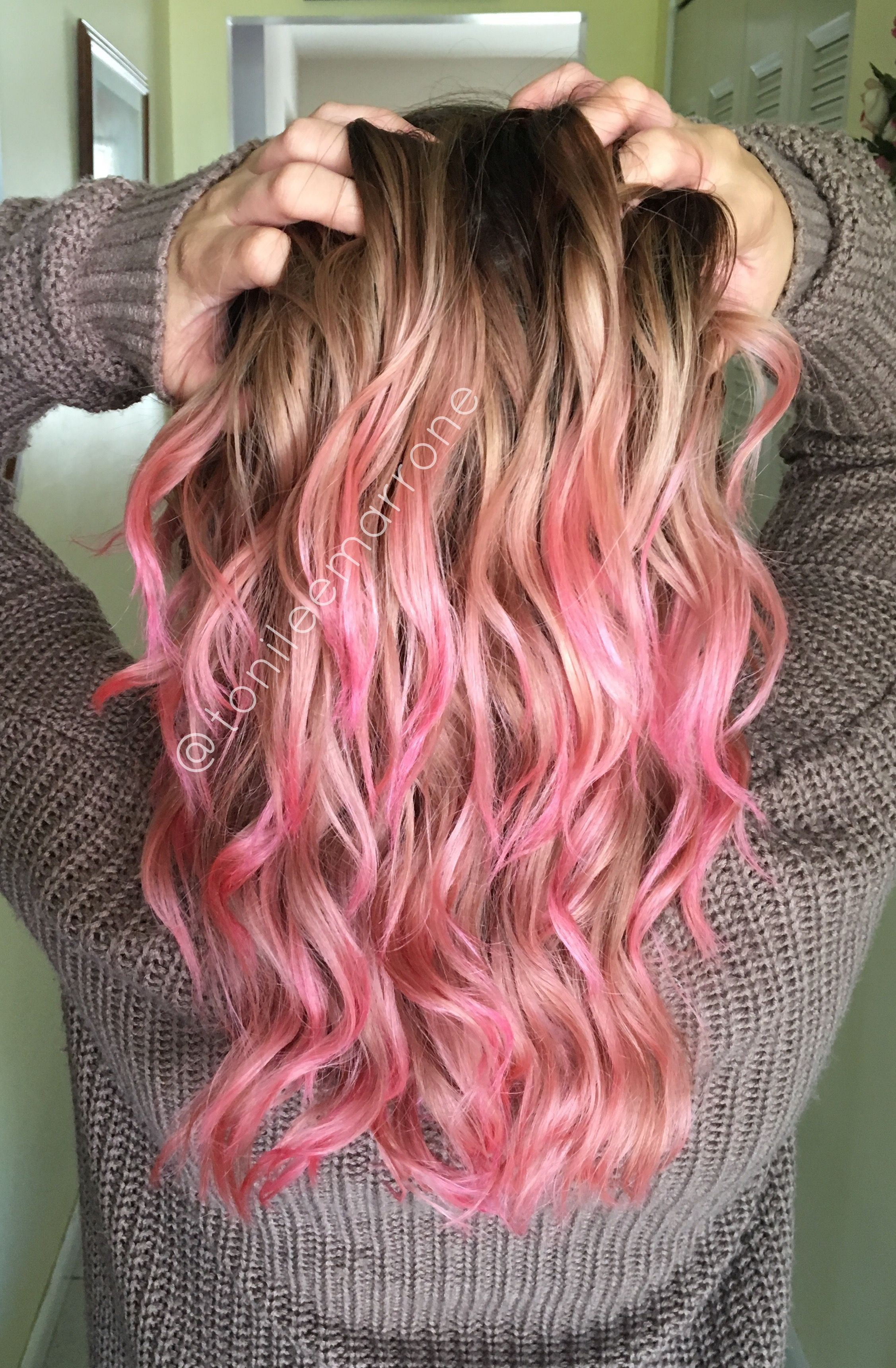 """Brown And Pink Living Room Decor: Pastel Pink Tips Using Manic Panic """"hot Hot Pink"""" Diluted"""