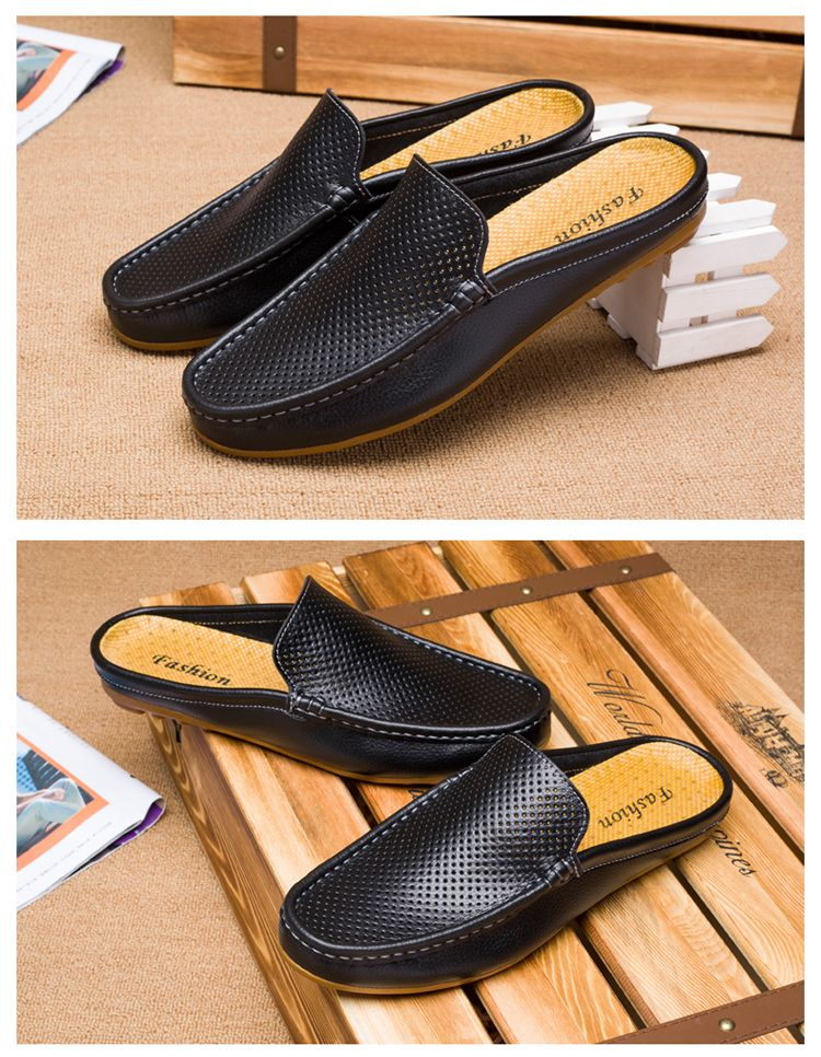 Urban Men Driving Shoes Luxury Brand Shoes Summer Men Shoes Backless Loafers Open Backs Shoes Without Back Breathable Holes