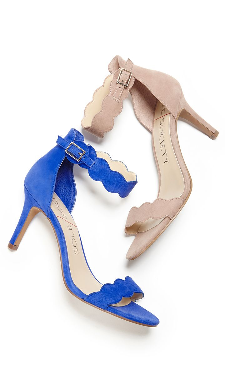 3c249ec06 Soft suede mid heel sandals with scalloped straps in nude and royal blue.  Perfect for weddings   summer soirées.