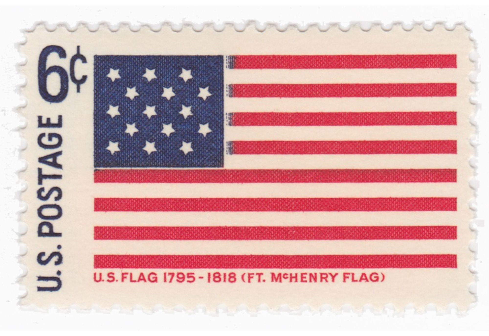 1968 6c Fort Mchenry Flag Historical Flags Mchenry Vintage Stamps