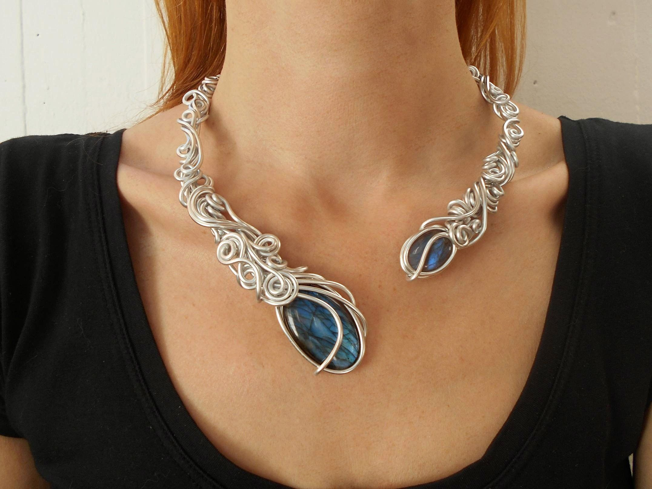 Handmade Aluminum Wire Open Necklace Choker Boho Unusual Unique Collar Necklace Statement Jewelry