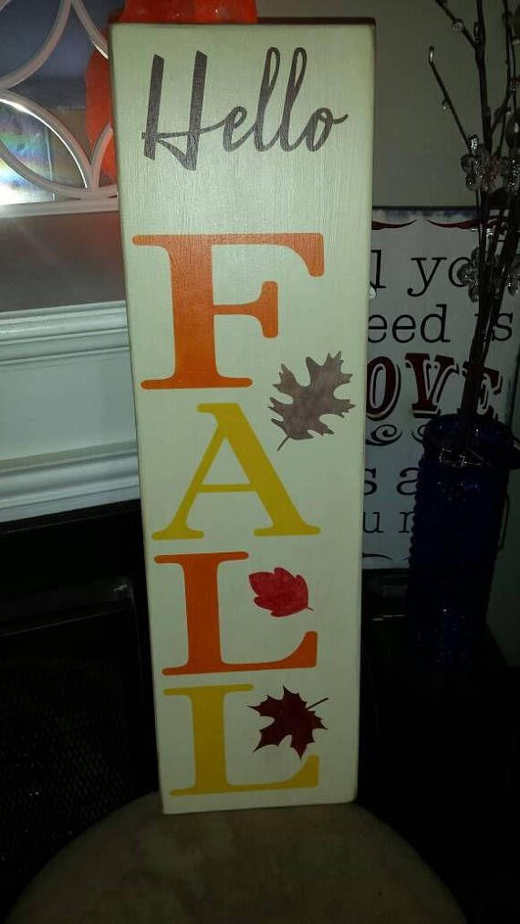 Check Out This Item In My Etsy Shop Https Www Etsy Com Listing 542146426 Hello Fall Sign Vertical Porch Sign Fall Wood Signs Door Signs Diy Porch Signs