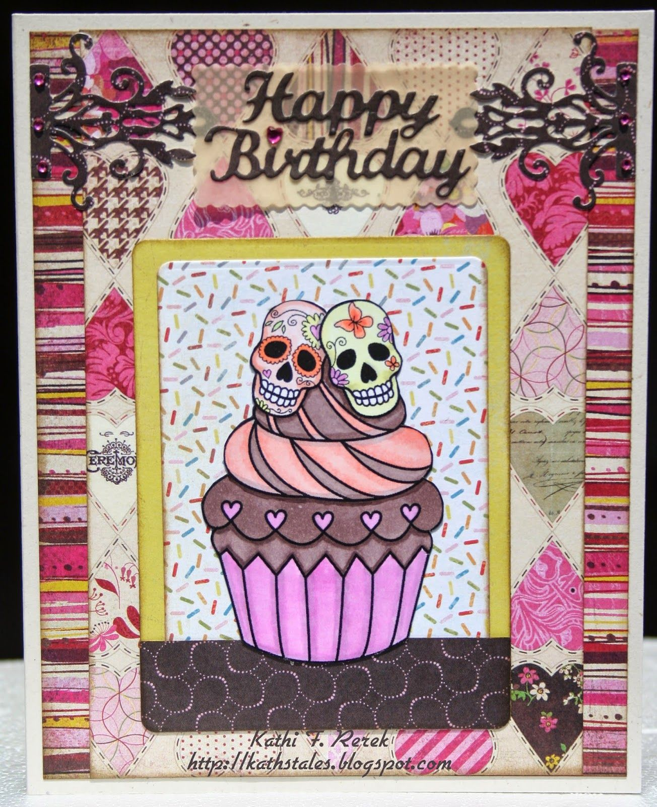 Kat's Tales Of Stamping: Sugar Skull Cupcake Birthday Card