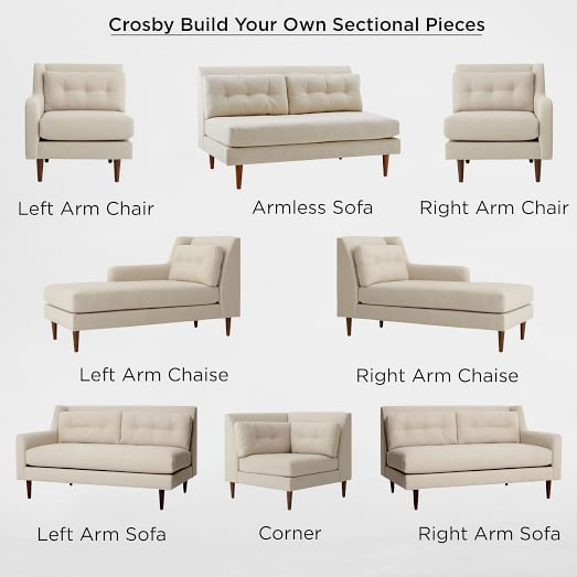 Build Your Own Crosby Sectional Pieces West Elm 154 X 99 5 Using