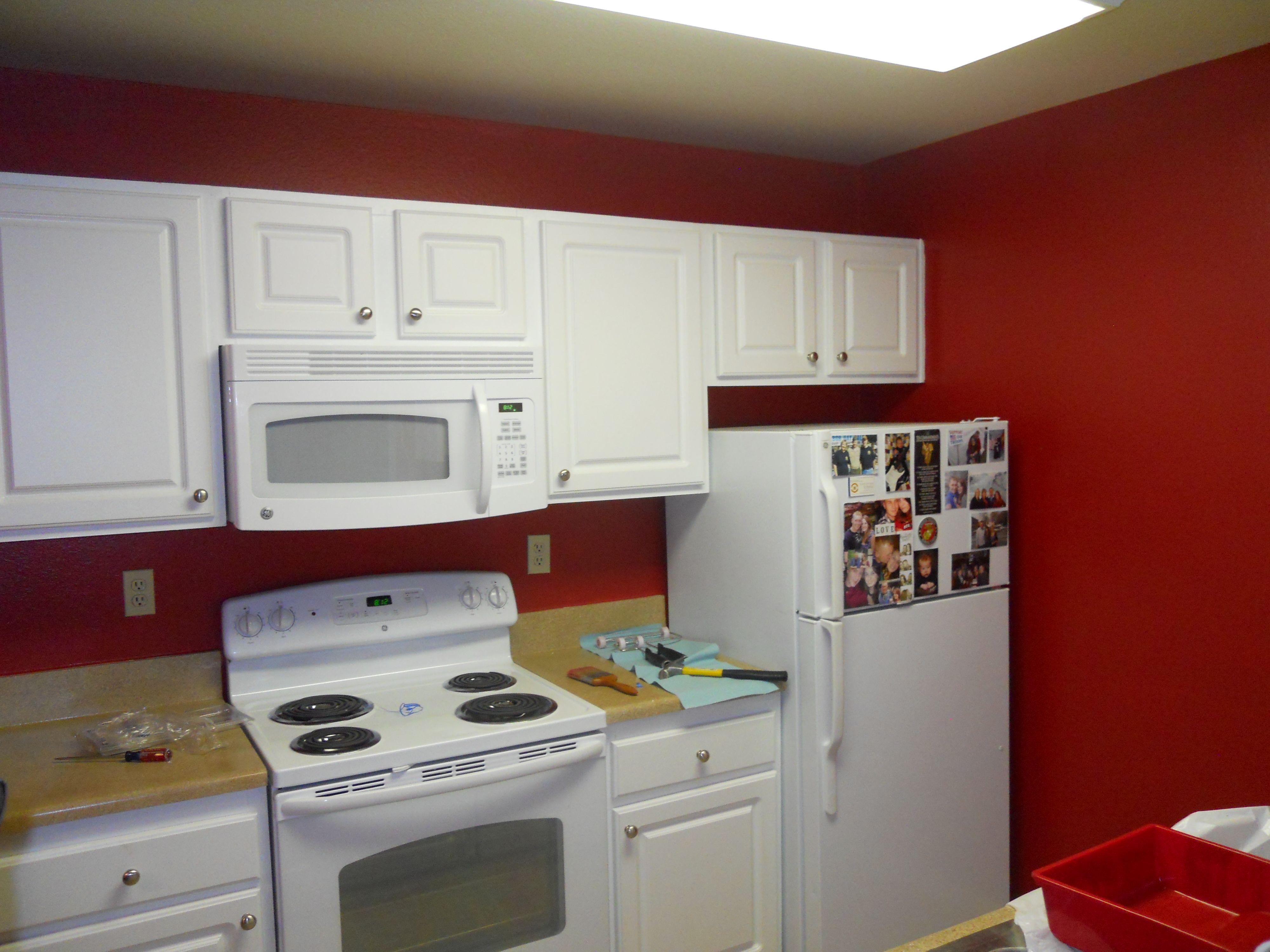 Red Kitchen and white cabinets   Kitchen redo, Red kitchen ...