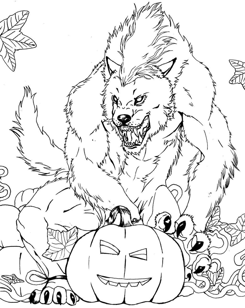 free werewolf coloring page lineart classic movie monsters