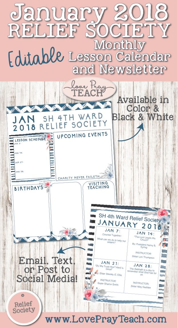 January 2018 Relief Society Editable Newsletter and Lesson - social media calendar template
