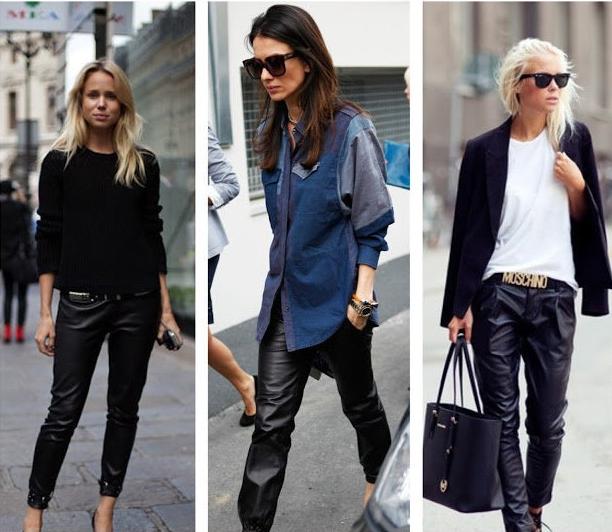 fashion black faux leather joggers women loose jogger