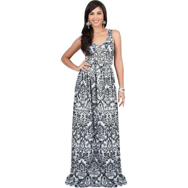 6232d2f5cab KOH KOH MAURA - Sleeveless Printed Summer Sun Maxi Dress (76 AUD) ❤ liked  on Polyvore featuring dresses