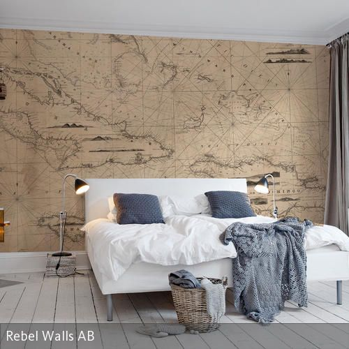 Tapete u201eNavigation Linesu201c Seekarte, Weltkarte und Fototapete - tapetenmuster schlafzimmer