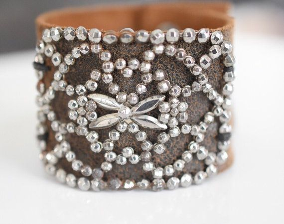 Boho leather cuff/ marcasite buckle/ shoe buckle/ brown leather/ art deco buckle/ shabby chic bracelet/ shabby chic jewelry/ France