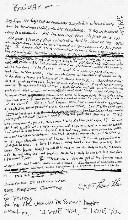 Kurt Cobain's Suicide Note, what a sad loss for all
