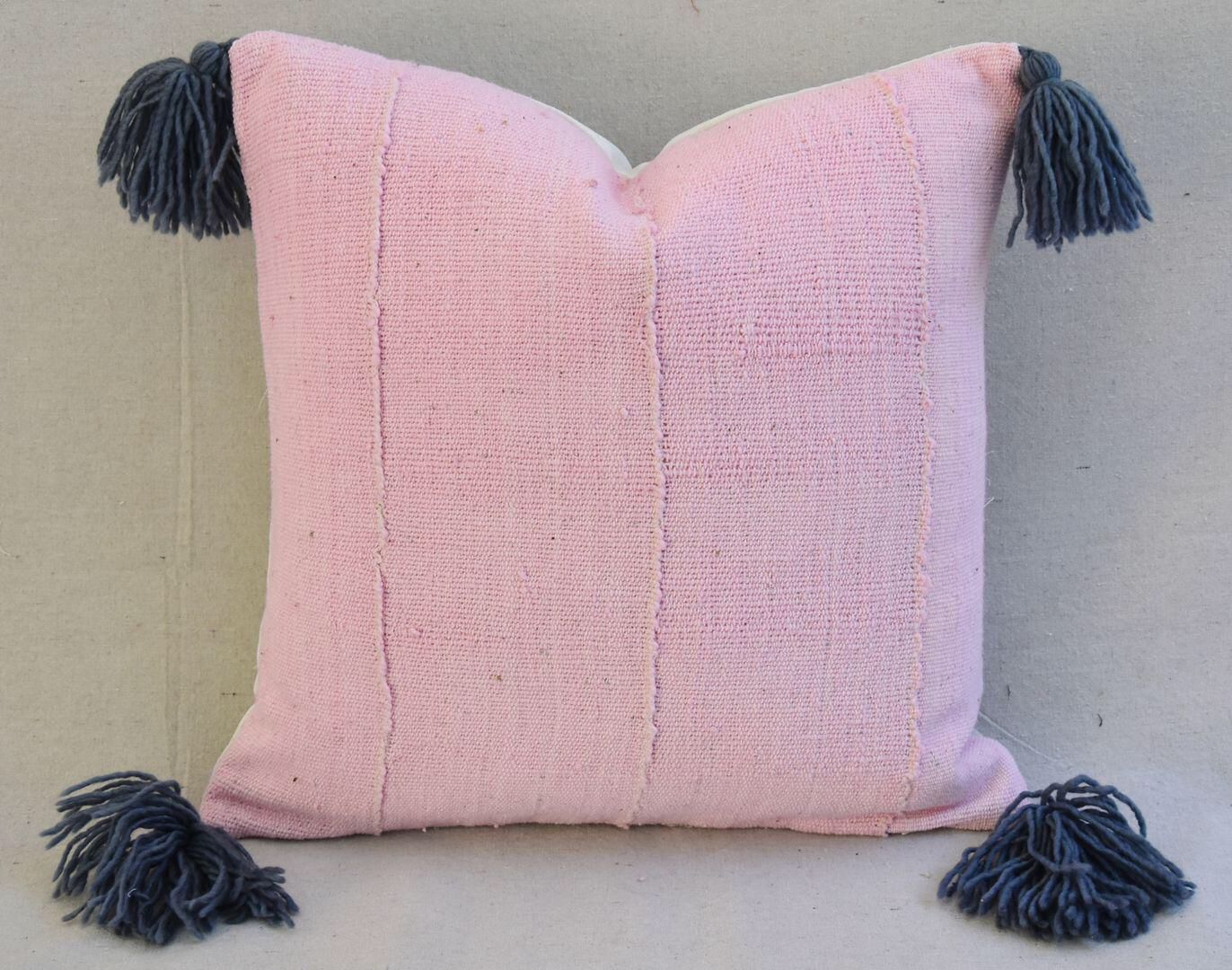 Custom pale pink u gray tasseled featherdown pillow pale pink