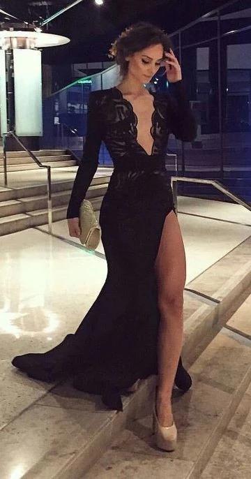 Elegant Black Long Sleeves Prom Dresses, Deep V Neck Lace Prom Dress  S6839 1