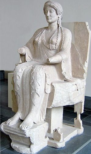 Seated statue of Persephone.Ancient Greek statue found in Tarentum,Italy 480-60B.C.