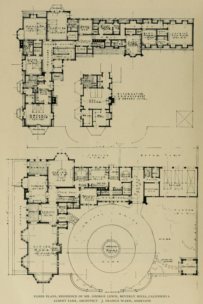 Floor plans residence of mr george lewis in beverly for Chateau blueprints