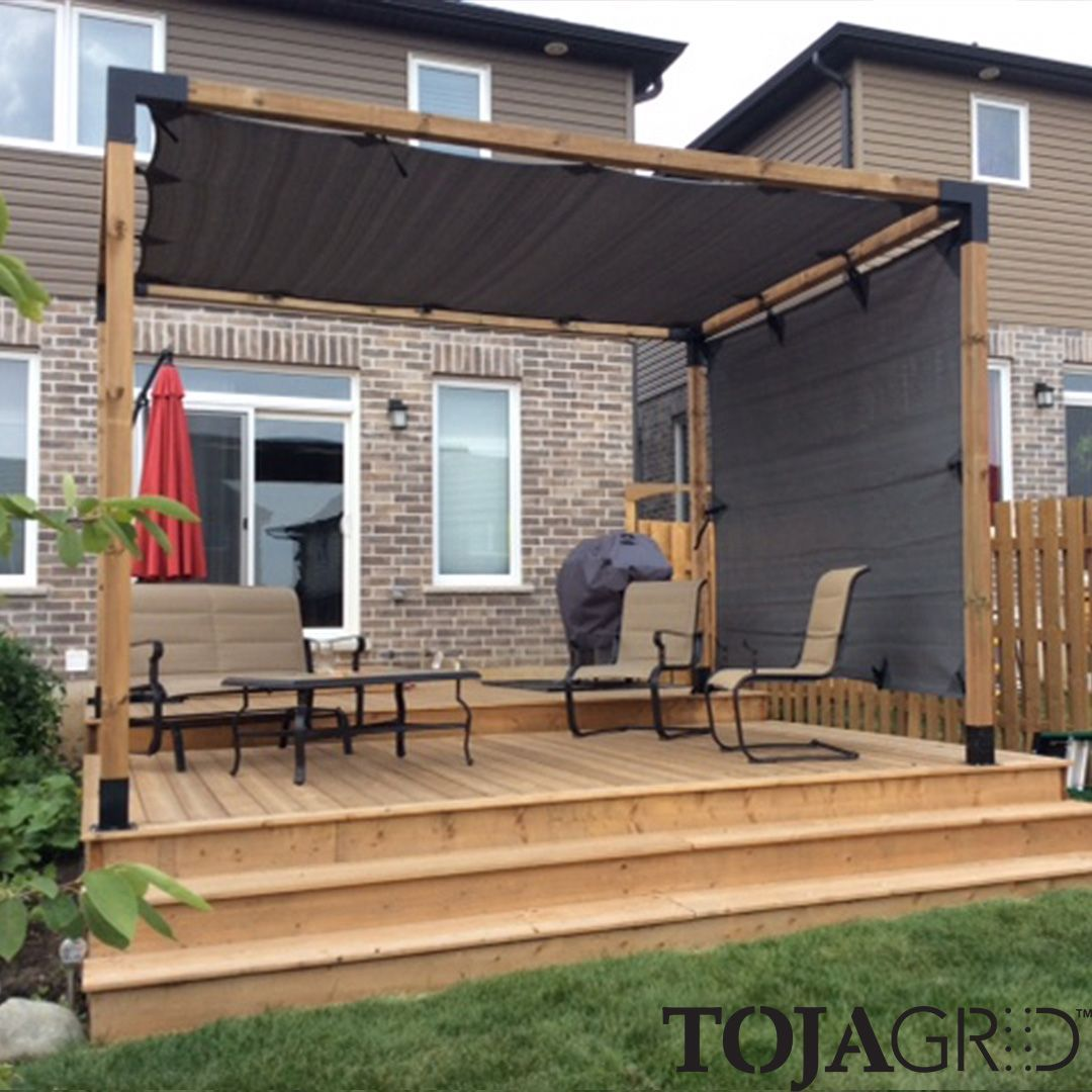 Pergola System Our 4x4 Modular Pergola Set Up With A Shade Sail On Both The