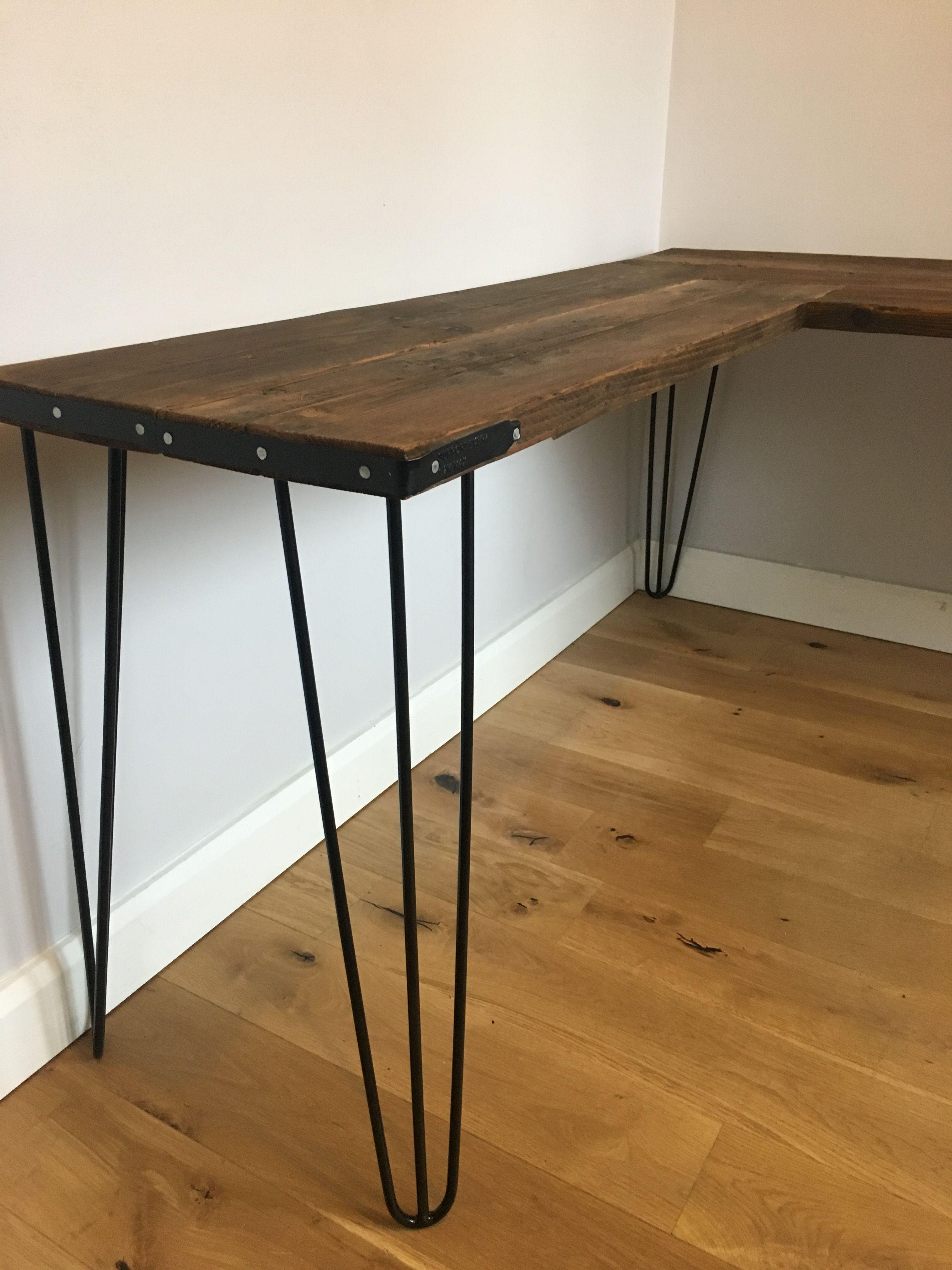 Homemade Corner Scaffolding Board Desk With Hairpin Legs Woodworking Furniture Plans Industrial Design Furniture Diy Corner Desk