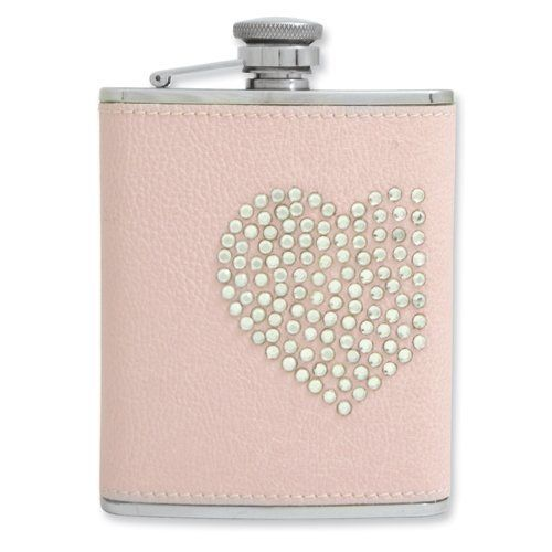 6 oz Pink Leather Stainless Steel Heart/Stone Flask Jewelry Adviser Gifts. $42.50