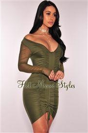 Oliva acanalada vestido de manga larga