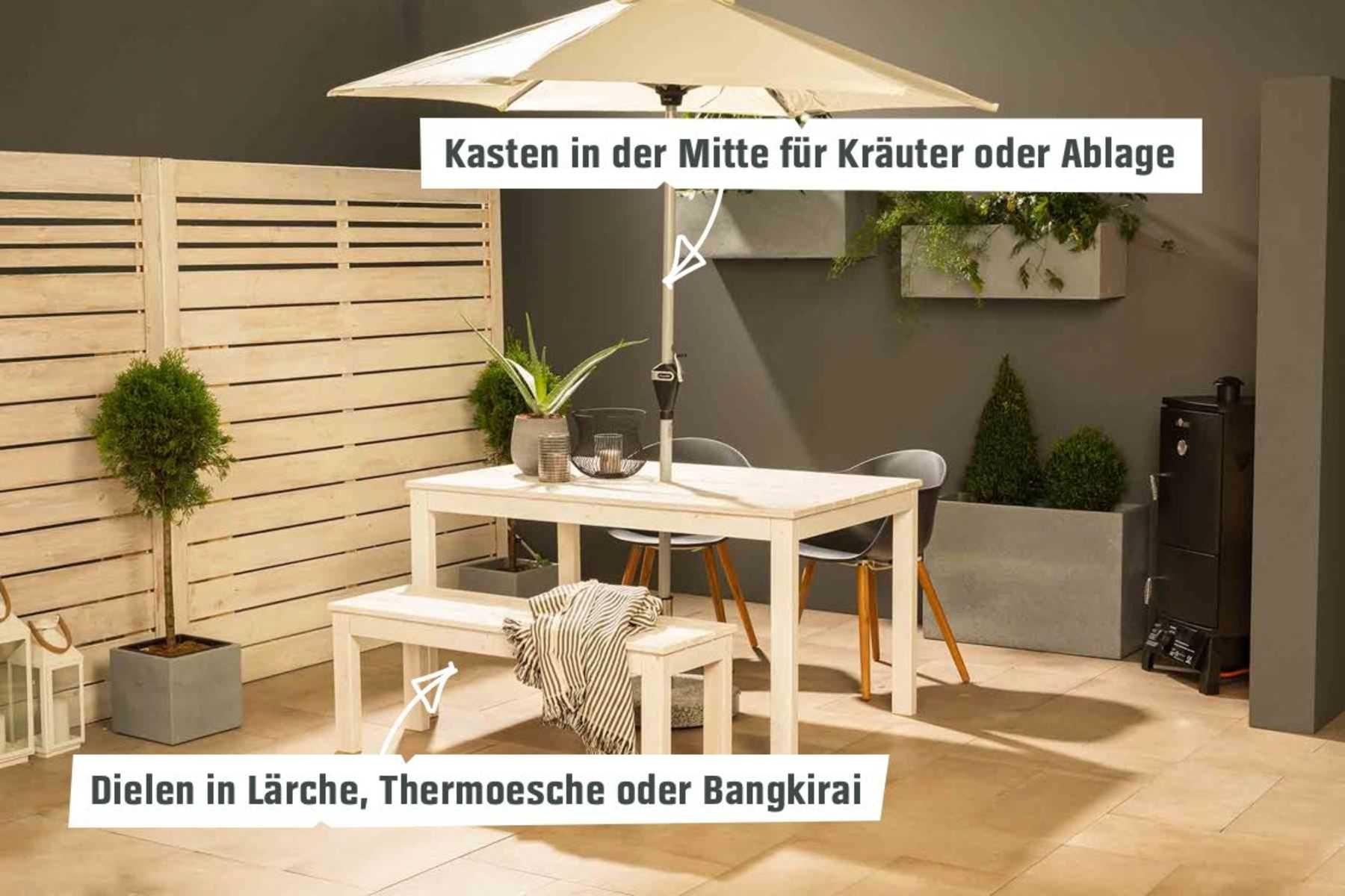 Gartentisch Sophie Create By Obi Gartentisch Tisch Selber Bauen Pflanzenregale