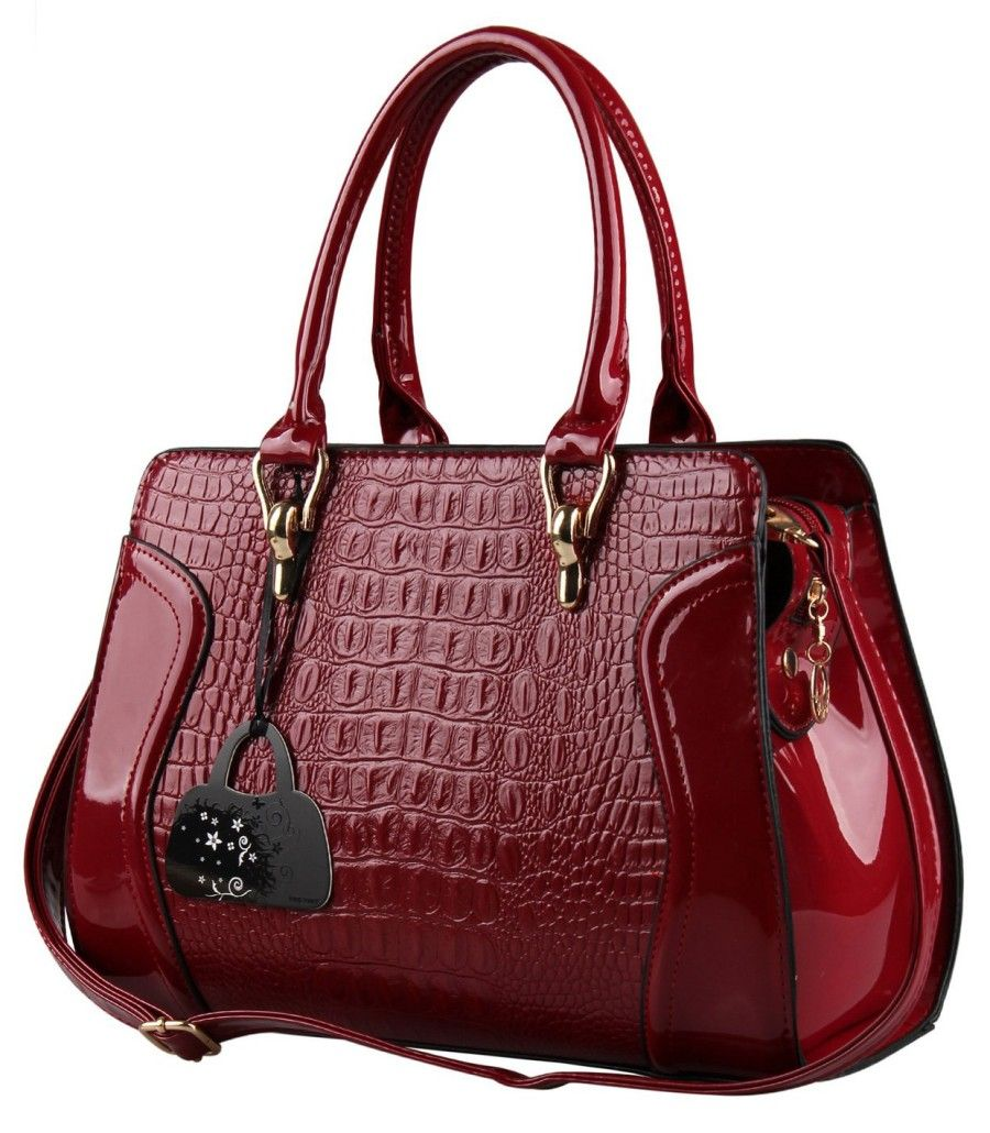 Hynes Eagle Patent Leather Crocodile Pattern Tote Bags Top Handle ...