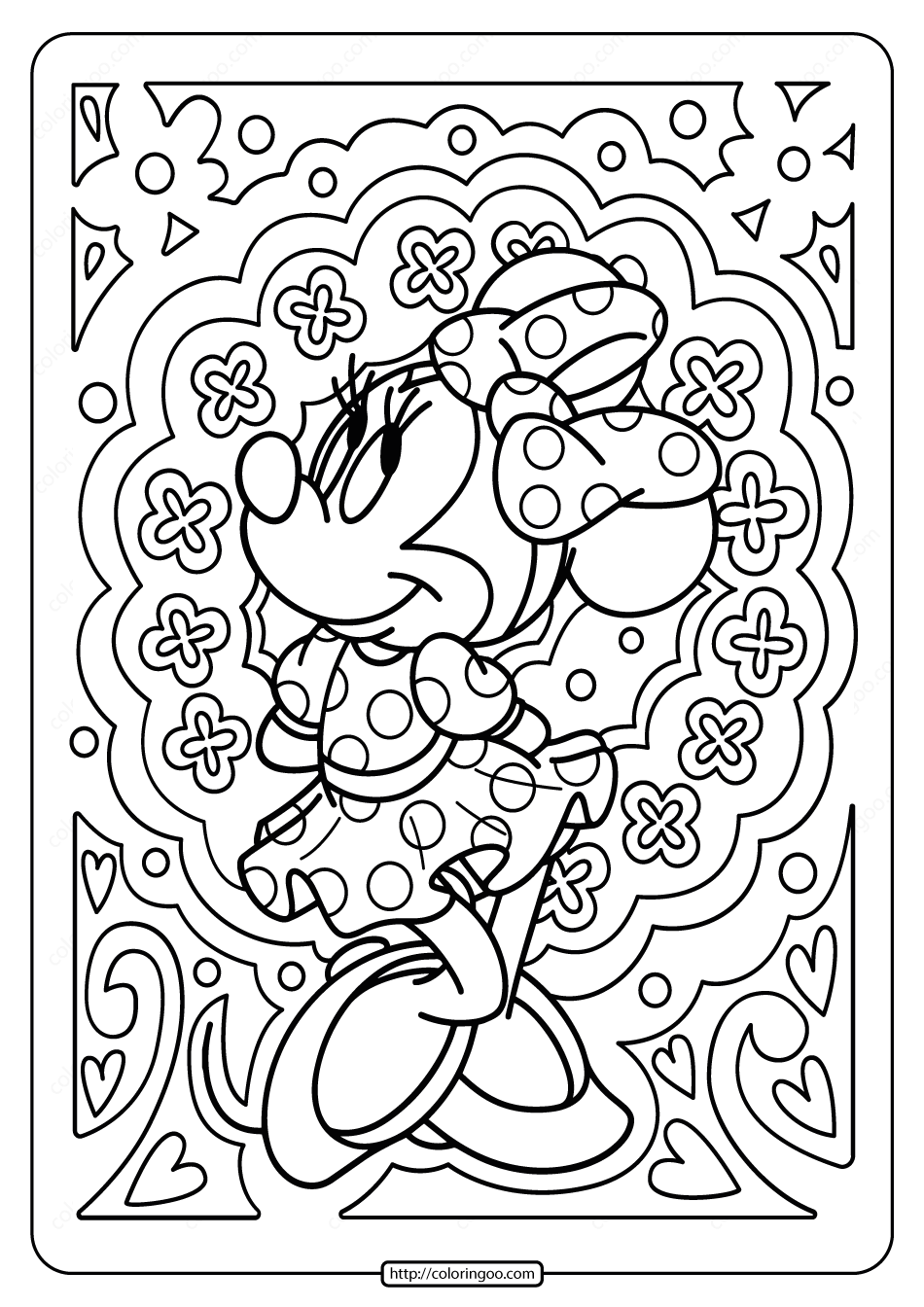 Printable Disney Minnie Mouse Pdf Coloring Page in 2020 ...