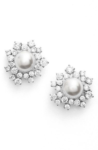 Nadri Faux Pearl Stud Earrings available at Nordstrom Sparkly