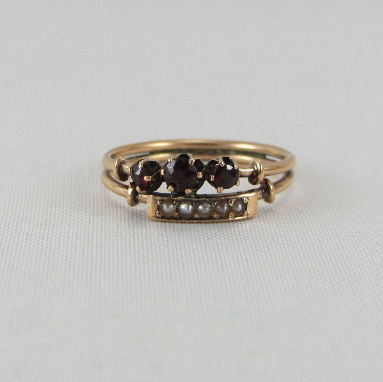 Antique Victorian 14K Rose Gold Seed Pearl and Garnet Ring Size 6 Late 1800s Fine Jewelry by zestfulvintage on Etsy https://www.etsy.com/listing/189171152/antique-victorian-14k-rose-gold-seed