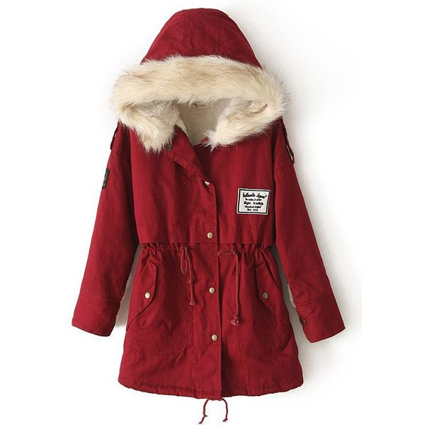 Zipper Embellished Fleece Inside Military Red Coat ($42) ❤ liked ...
