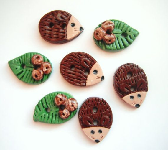 Button Little Rustic Porcupines Handmade polymer clay buttons ( 7 )