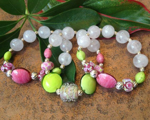 Spring Sherbet Rose Quartz Gemstone Triple by JewelrybyKellyWalker