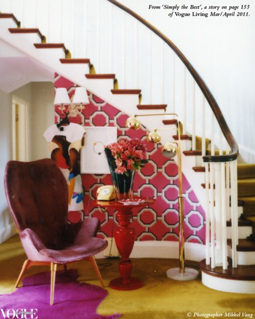 #MarionHallBest  Captivated by the style of the late Marion Hall Best, stylist Sibella Court reinterpreted the lauded designer's famed colour blocking, use of natural textures and love of modern shapes for Vogue Living's Mar/April 2011 issue against the background of a Hall Best-designed Rose Bay home.  In the entrance, Court used 'Rheinsberg Peony' wallpaper by Designers Guild to contrast with the original chartreuse carpet and a fuchsia-dyed Italian cowhide from Spence & Lyda. The a